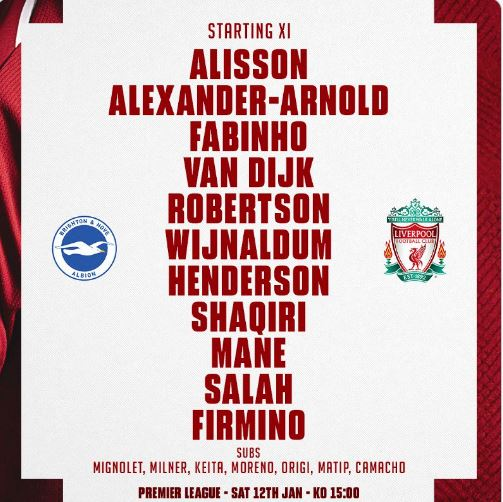 Formacionet zyrtare: Brighton-Liverpool