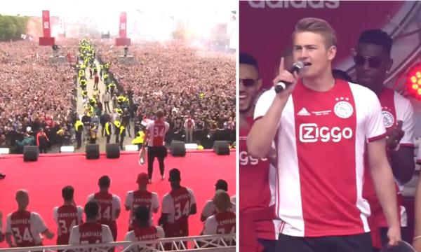 Çfarë kapiteni, De Ligt i emocionon tifozët dhe lojtarët në festën madhështore për titull