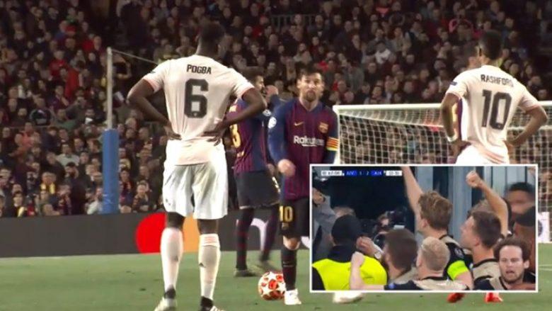 Tifozët e Barcës në stadium iu gëzuan shumë golit të De Ligt dhe eliminimit të Juves