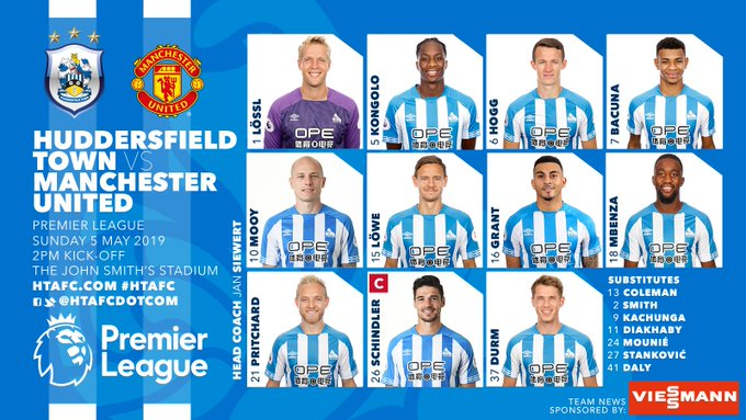 Formacionet zyrtare: Huddersfield – Manchester United